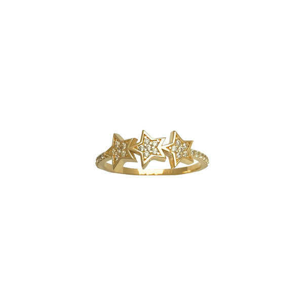 Pave Three-Star Ring (14K)