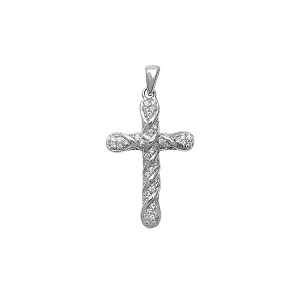 Pave Twisted Textured Cross Pendant (Silver) Popular Jewelry New York