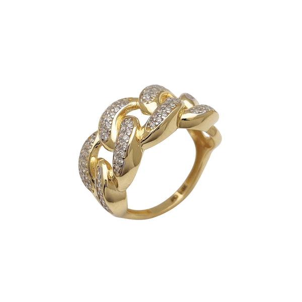 Pave Two-Row Miami Cuban Ring (14K) Popular Jewelry New York
