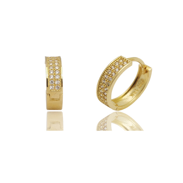 Pave CZ Huggie Earrings (14K).