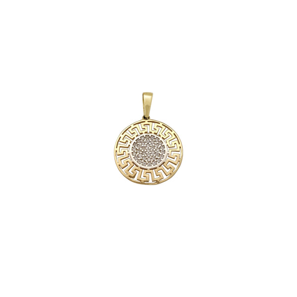 Pave Round Greek Key Pendant (14K) Popular Jewelry New York