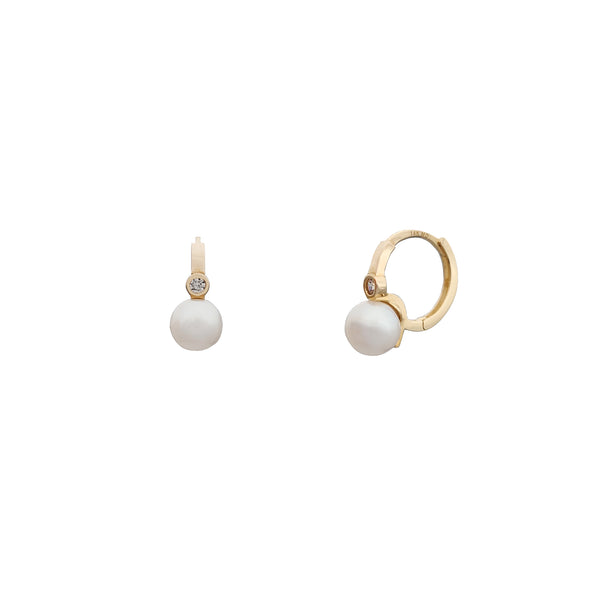 Yellow Gold Pearl Stone-Set Huggie Earrings (14K) Popular Jewelry New York