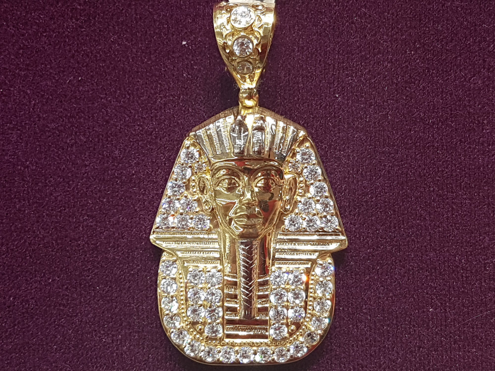 Iced-Out Pharaoh Pendant 14K - Popular Jewelry