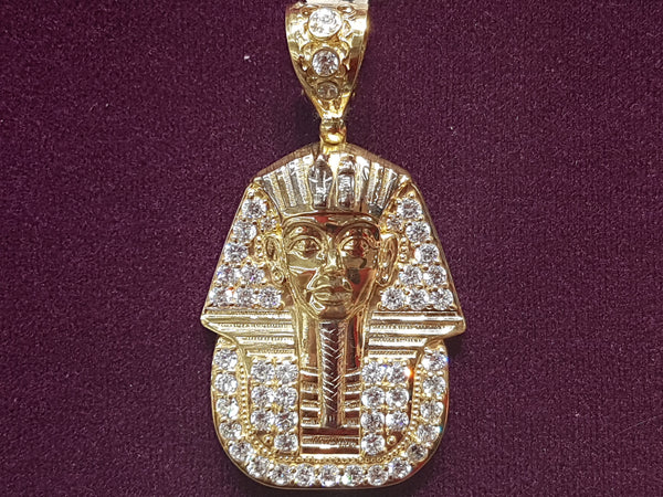 Iced-Out Pharaoh King Tut Pendant 14K - Lucky Diamond 恆福珠寶金行 New York City 169 Canal Street 10013 Jewelry store Playboi Charlie Chinatown @luckydiamondny 2124311180