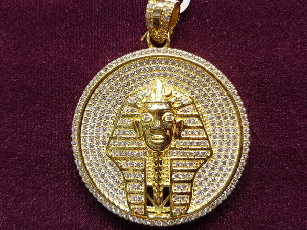 Iced Out Pharaoh Medallion Pendant Silver - Popular Jewelry