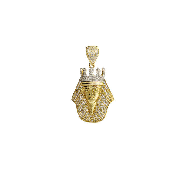 Pharaoh Head CZ Pendant (14K) 14 Karat Two Tone, Yellow Gold, White Gold, Cubic Zirconia, Popuplar Jewelry New York