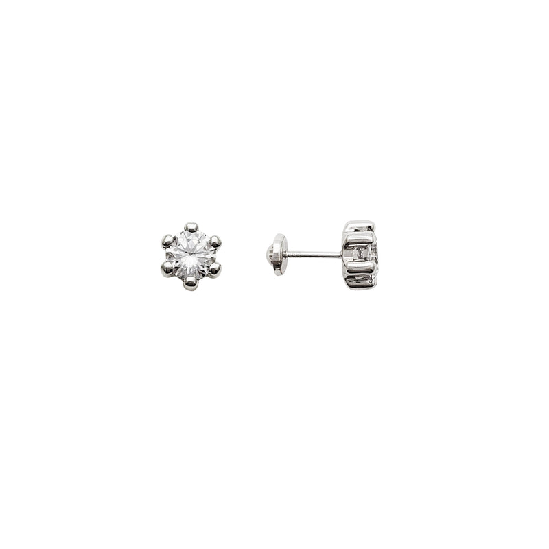 Pillar Set CZ Stud Earrings (14K)