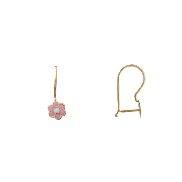 Pink Flower Dangling Earrings (14K) Popular Jewelry New York