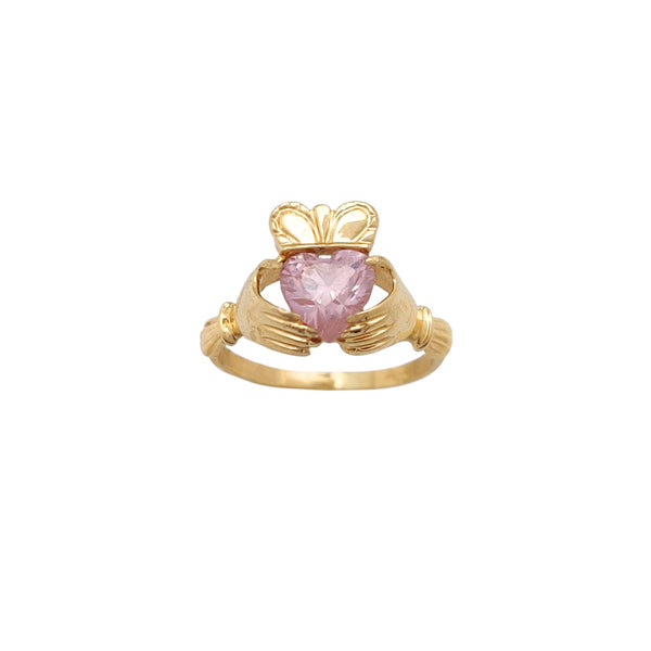 Pink Stone Set Claddagh Ring (14K) Popular Jewelry New York