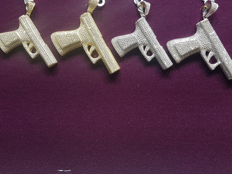 "Iced-Out ""Semi-Auto"" Pistol Pendant Silver - Lucky Diamond 恆福珠寶金行 New York City 169 Canal Street 10013 Jewelry store Playboi Charlie Chinatown @luckydiamondny 2124311180"