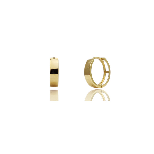 Pendientes Huggie lisos (planos) (14K) Popular Jewelry New York