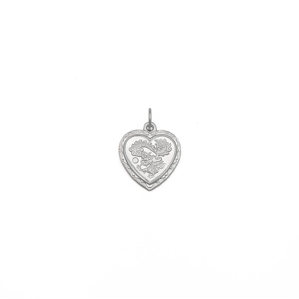 Dragon Heart Pendant (Platinum) front - Popular Jewelry - New York