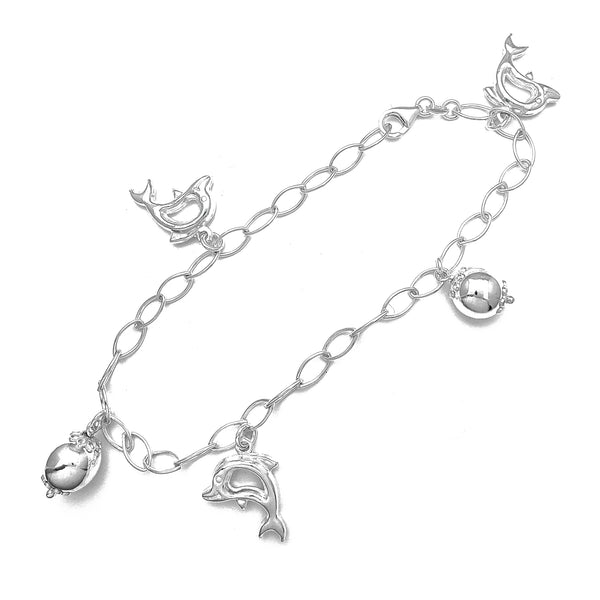 Puffy Dolphin Charms Anklet (Silver)