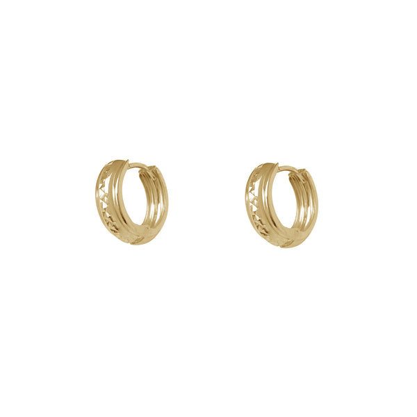 Puffy Faceted Huggie Earrings (14K) Popular Jewelry New York