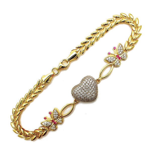 Puffy Heart & Butterfly Bracelet (14K) Popular Jewelry New York