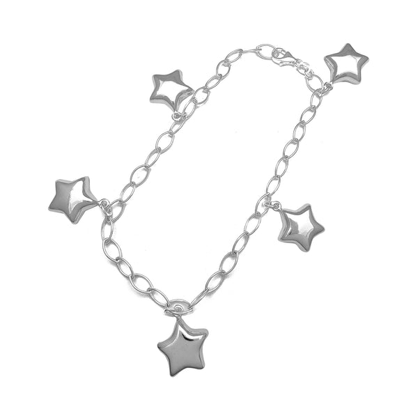 Puffy Star Charms Anklet (Silver)