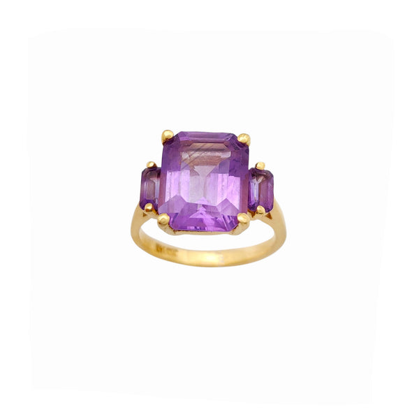 Purple Emerald Cut Anniversary Ring (14K) Popular Jewelry New York