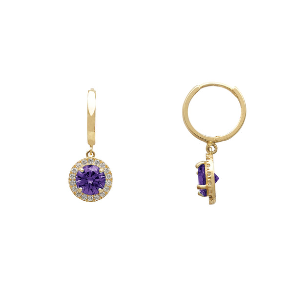 Purple Halo Pave Round Huggie Dangling Earrings (14K) Popular Jewelry New York