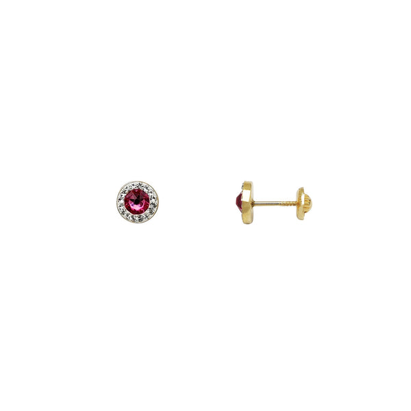 Purple Round Halo Stud Earrings (14K) Popular Jewelry New York