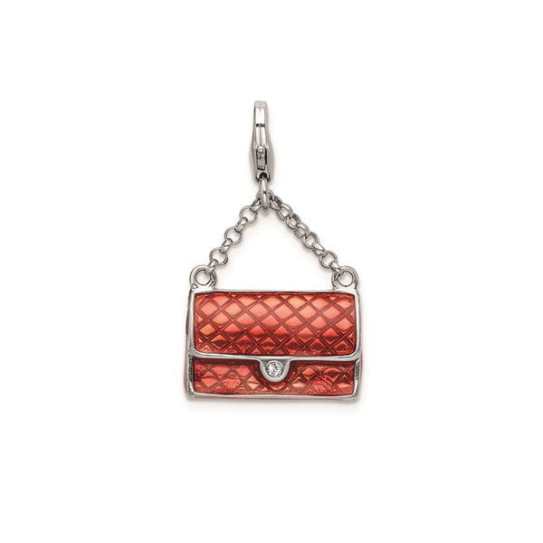 Enameled 3D-Purse with Lobster Clasp Charm Pendant (Silver)