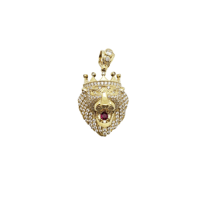 Lion Head Crown CZ Pendant (10K)
