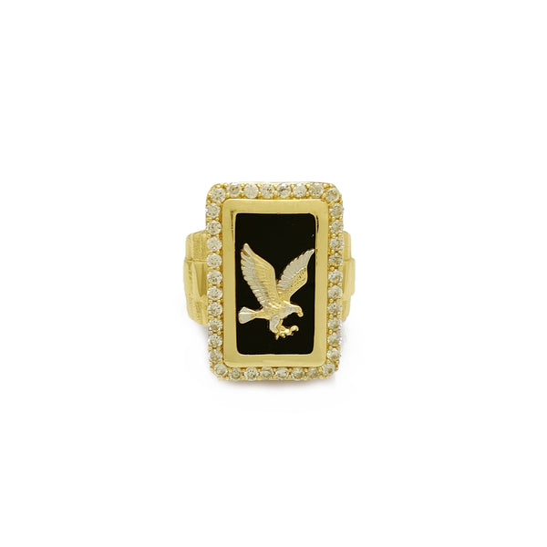Anillo Presidencial Rectangular Halo Eagle (14K) Popular Jewelry New York