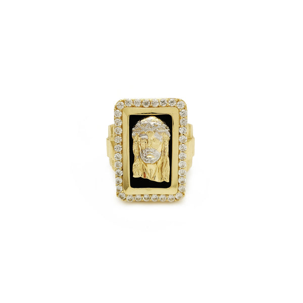 Rectángulo Halo Jesus Head Anillo presidencial (14K) Popular Jewelry New York