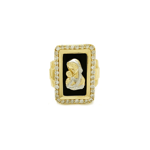 Rectángulo Halo Virgen María anillo presidencial (14K) Popular Jewelry New York