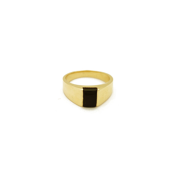 Anillo rectangular de ónix negro (14K) Popular Jewelry New York
