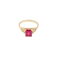 Red CZ Yellow Gold Ring (14K) Popular Jewelry New York