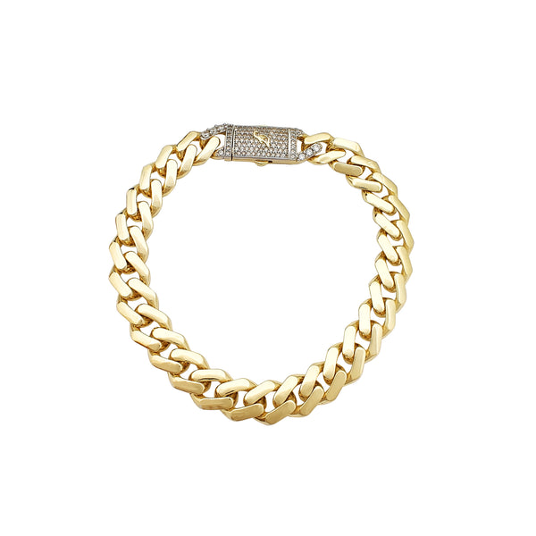 Rhombus Curb Ljochtgewicht armband (14K) Popular Jewelry New York