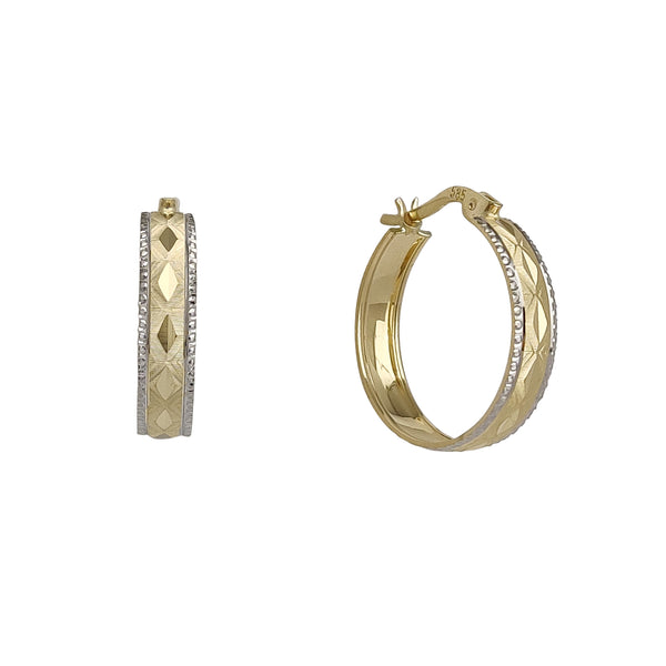 Rhombus Pattern Diamond Cuts Hoop Earrings (14K) Popular Jewelry New York