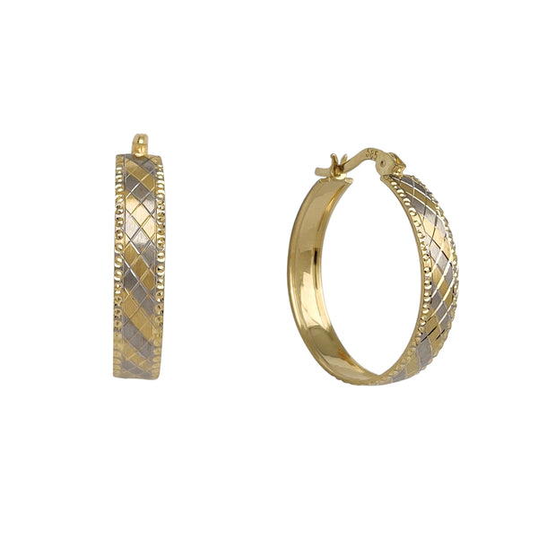 Rhombus Pattern Matte Finish Hoop Earrings (14K) Popular Jewelry New York