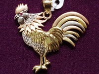Tricolor Gold Rooster CZ Pendant 14K - Popular Jewelry