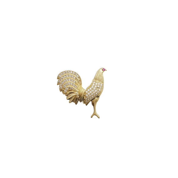 Rooster CZ Pendant (14K)