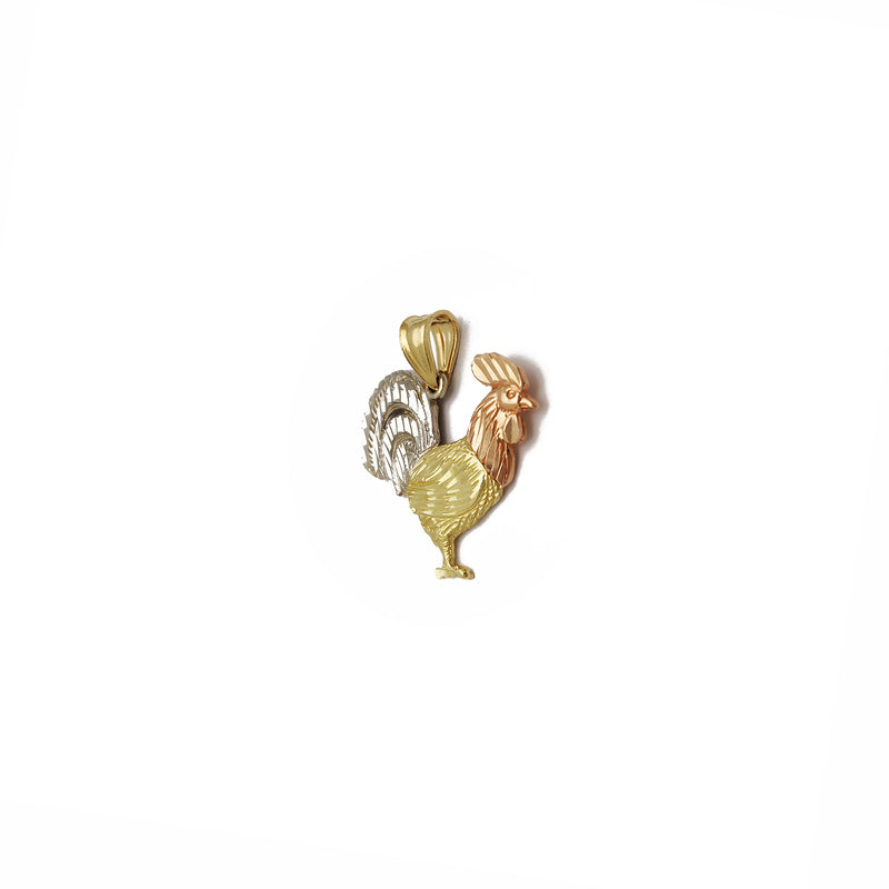 Rooster Pendant (14K) 14 Karat Tri Tone, Yellow Gold, White Gold, Rose Gold, Popular Jewelry New York