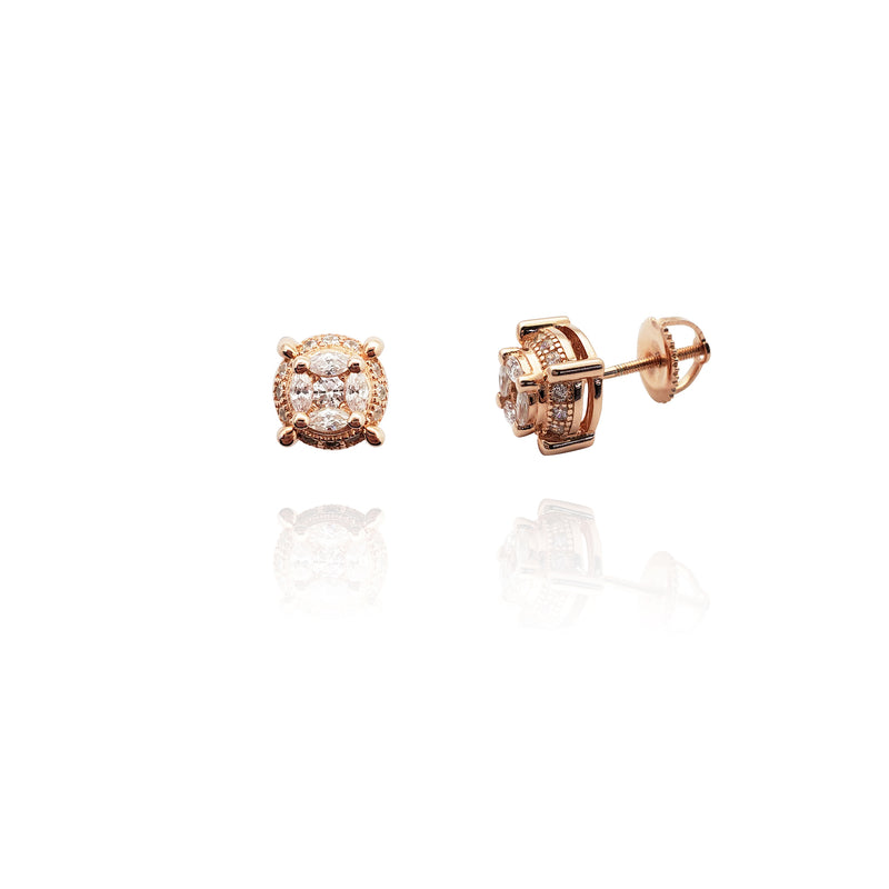Rose Cushion Stud Earrings (Silver) New York Popular Jewelry
