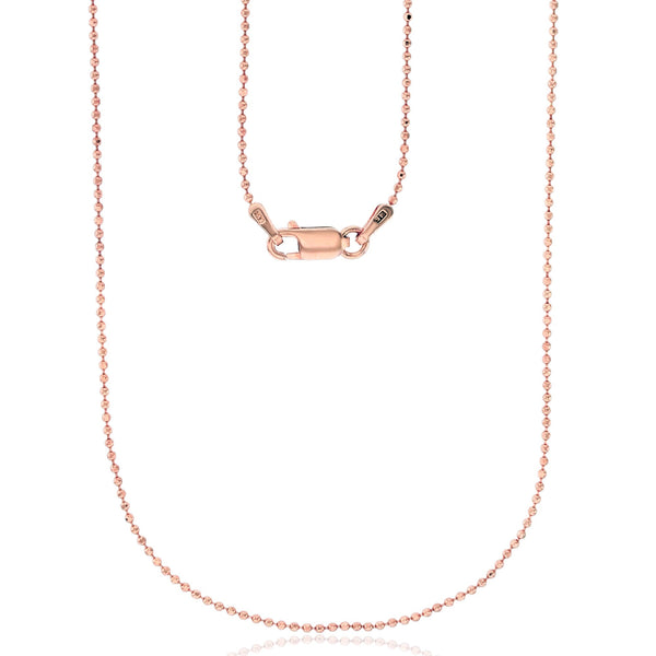 Rose Gold Bead Diamond Cut Ball Chain (14K)