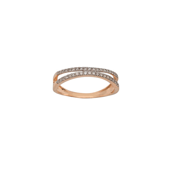 Diamond Two-Row Pave Ring (14K) Popular Jewelry New York