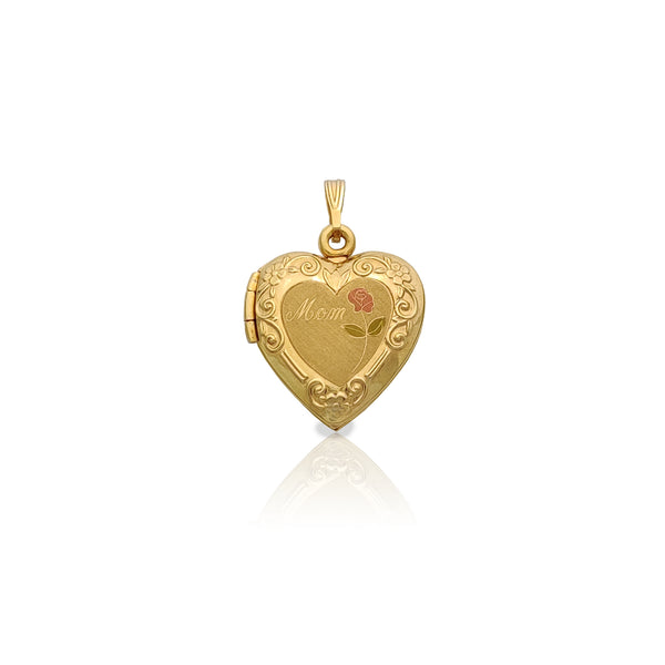 Rose & Mom Locket Pendant (14K) Popular Jewelry New York