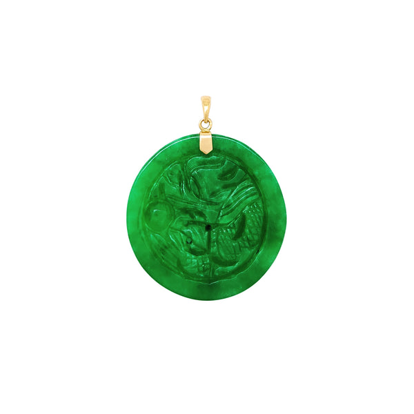 Round Ancient Dragon Jade Pendant (14K) Popular Jewelry New York