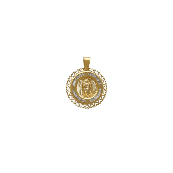 Round Channel Setting Silhouette Heart Virgin Mary Pendant (14K) Popular Jewelry New York