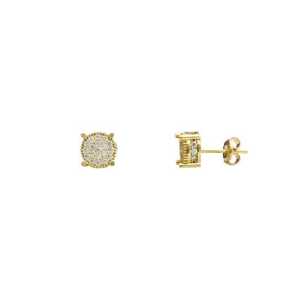 Round Clusted Milgrained Stud Earrings (14K) Popular Jewelry New York