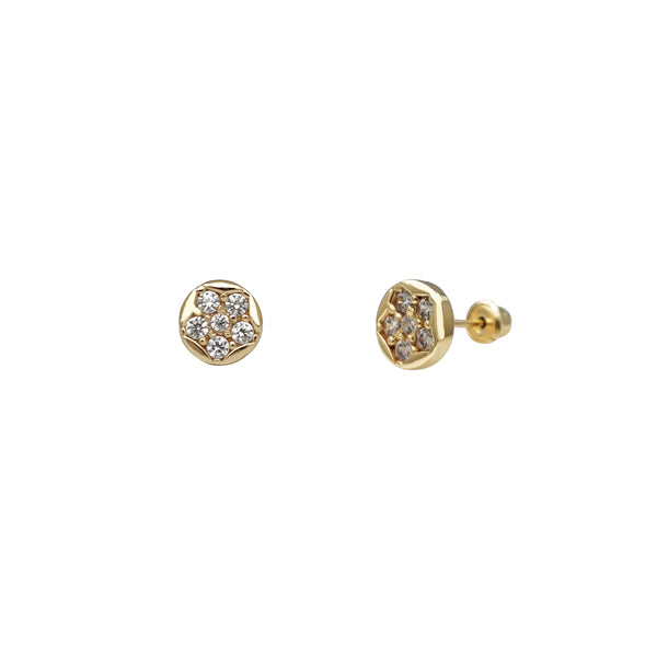Round Flower Stone-Set Stud Earrings (14K) Popular Jewelry New York