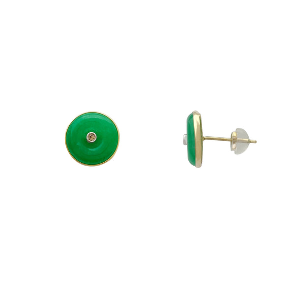 Round Jade Stud Earrings (14K)