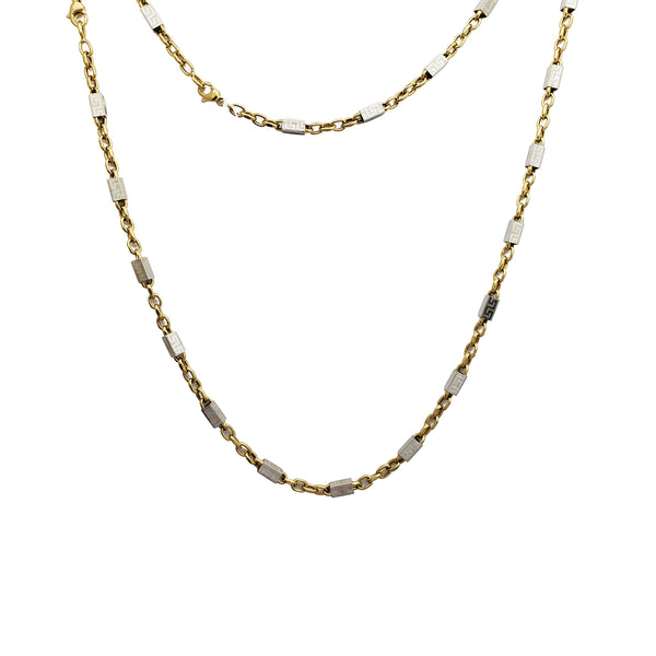 Round Link  Rectangle Tube Necklace (14K)