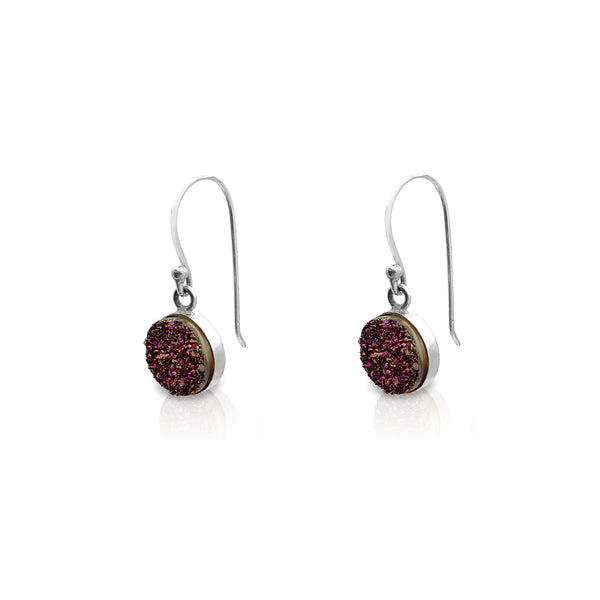 Round Purple Glitter Drop Earrings (Silver) Popular Jewelry New York