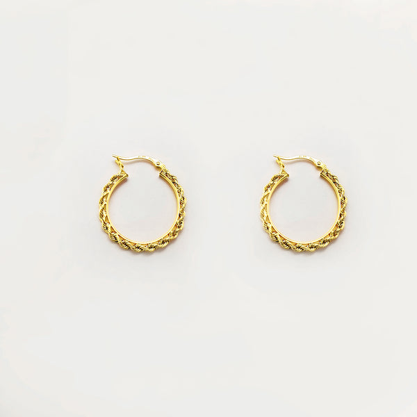 Round Rope Hoop Earring (10K) Popular Jewelry New York