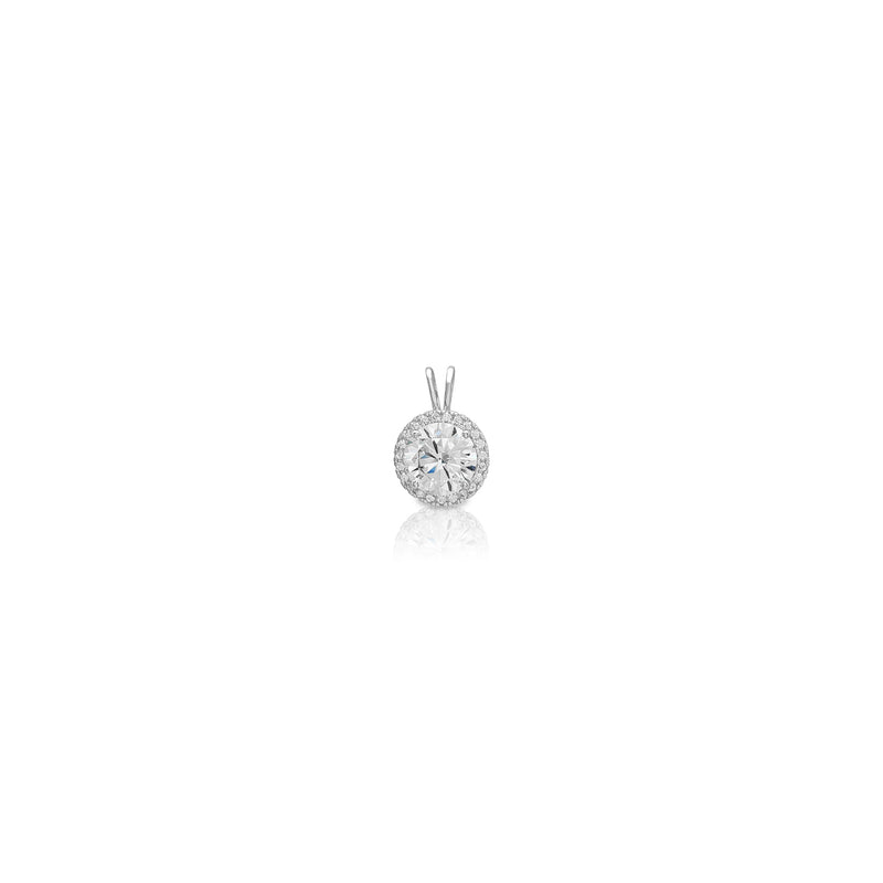 Round Halo Solitaire White Gold Pendant (14K) Popular Jewelry New York