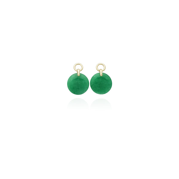 Rounded Jade Earrings (14K) New York Popular Jewelry